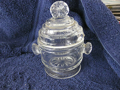 ANTIQUE JAR W/ SPOON Opening Clear Glass EAPG Handles Lids Star 2 available Jam
