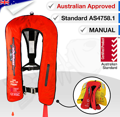 ADULT Life Jacket Inflatable PFD1 Type 1 Yoke LifeJackets Manual Level L150N Red