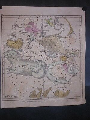 Celestial 1835 Map Burritt & Huntington Hand Colored Aries Capricorn Pisces