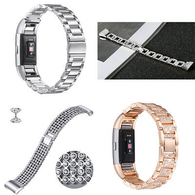 Fashion Metal Steel Chain Link Bracelet Strap Watch Band For Fitbit Charge 2