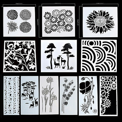 Reusable Stencil Airbrush Painting Art DIY Home Decor Scrapbooking Album Craft