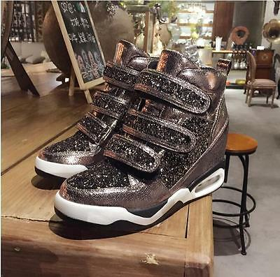 c7eaec269d27 Womens Bling Bling Glitter High Top Wedge High Heels Sneakers Trainers  Shoes Y52