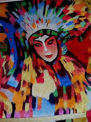 Asian Silk Art  Embroidery Picture  Harlequin Unframed