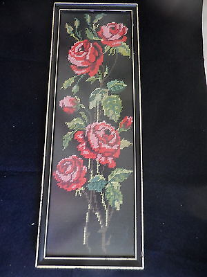 Tapestry Completed Framed Picture Roses On Black Background