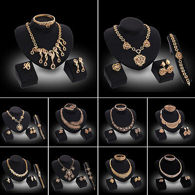Fashion Women Crystal Gold Plated Bridal Jewelry Sets Necklace Earrings Set Prom