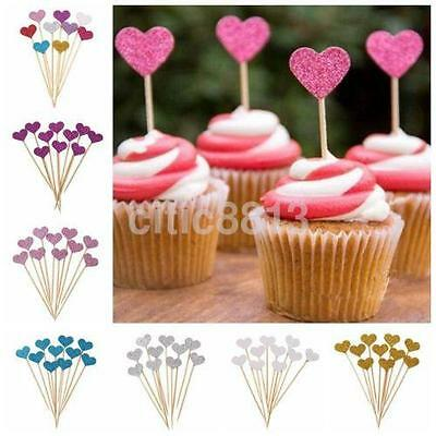 10PCS Handmade Love Heart Wedding Cupcake Toppers Baby Birthday Party Decor CA