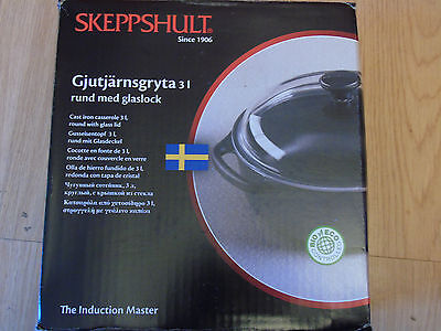Skeppshult Swedish Cast Iron Round 3l Casserole Dish With Glass Lid