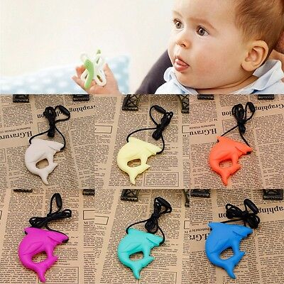 Cute Baby Shark Pendant Silicone Teething Teether Necklace Chewable Jewelry