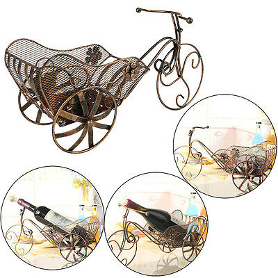 New European Wine Shelf Bar Kitchen Champagne Rack Antique Iron Tricycle shape