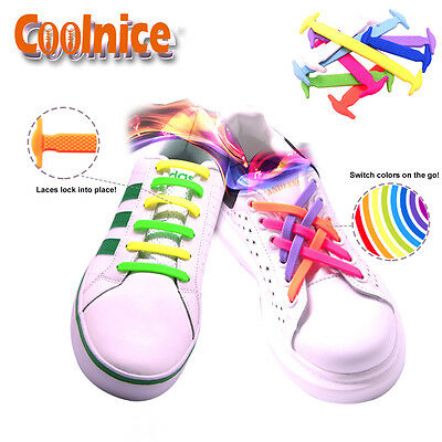 Kid Adult Senior No Tie Shoelaces Elastic Silicone Shoe Laces Easy Slip-on Flat