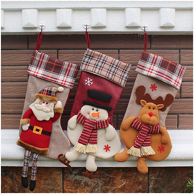 Personalised Christmas Stocking Holder 3D Xmas Socks to Hang Candy Gift 3 Models