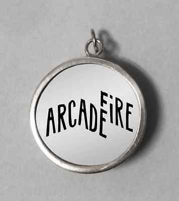Arcade Fire Rock Band Engraved Sterling Silver 925 Round Pendant Arcade Fire
