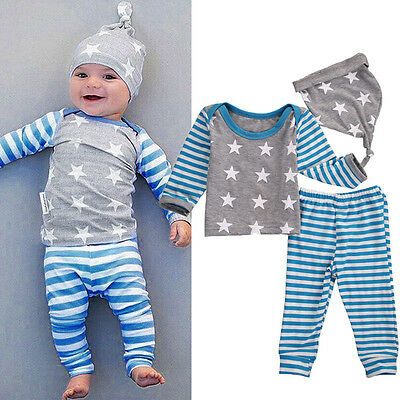 Newborn Baby Boys Girls Christmas Clothes Tops Pants Hat 3PCS Outfits Set 0-24M