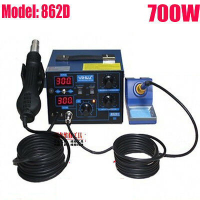 2in1 Soldering Station Rework Hot Air & Iron 862D+ 5 Tips SMD 2 in 1 Heat USA OY
