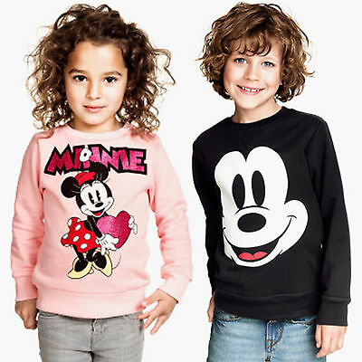 Kids Cartoon Mickey Minnie Mouse Boy Girls Long Sleeve T-Shirt Pullover Top 2-7Y