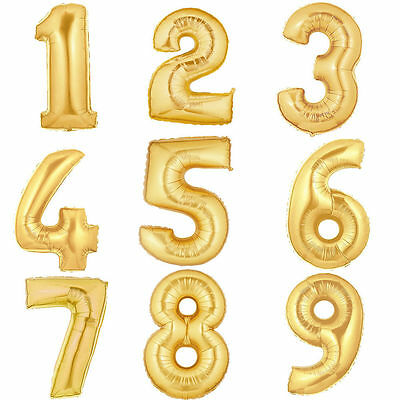 Gold Foil Number Party Balloons Helium Birthday Wedding Solid Colour Shape