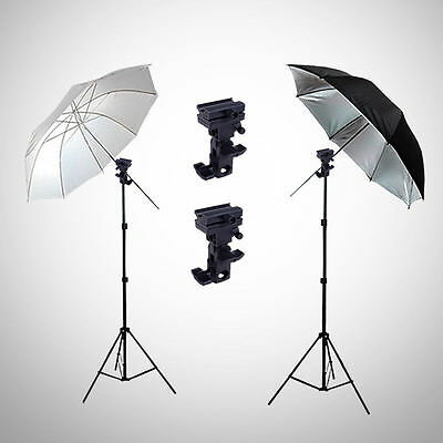 Photo Studio Flash Speedlight Umbrella Lighting Light Stand Kit + 2 Bracket B AU