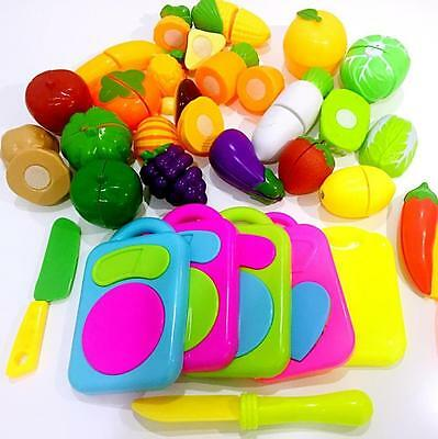 Child Kid Pretend Role Play Kitchen Fruit Vegetable Food Toy Gift Cutting Set