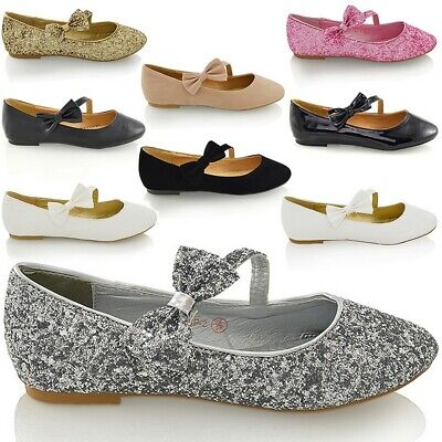 Womens Bridal Shoes Flat Ballet Ladies Glitter Bow Strap Bridesmaid Wedding Pump