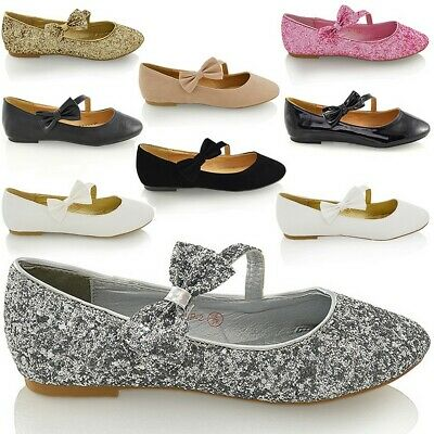 Womens Bridal Shoes Flat Bow Glitter Ladies Ballet Bridesmaid Wedding Pumps 3-9