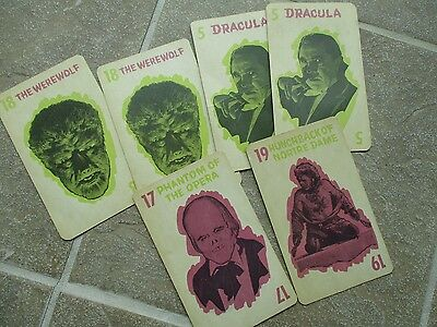 Vintage 1964 Universal Pictures Co Monster Old Maid Card Game Extras