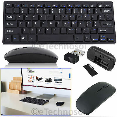 2.4GHZ USB Wireless Slim Keyboard and Cordless Mouse Combo Kit Set for PC Laptop