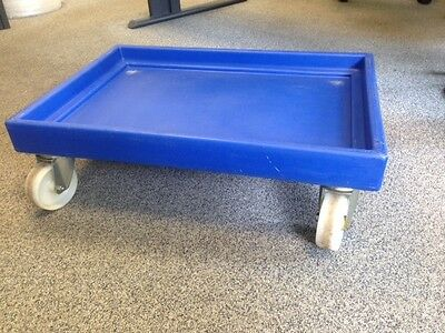 Warehouse Plastic Wheeled Crate Dolly 65x45cm Box Stackable Order Picking