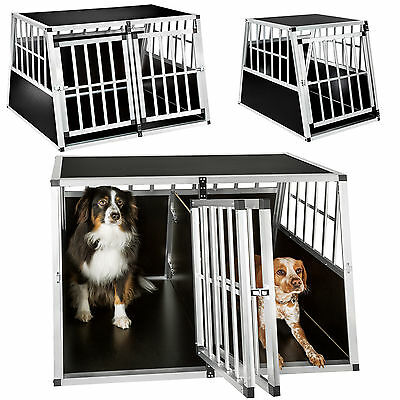 XXL Double dog transport box with partition wall trapezoidal car trave aluminium
