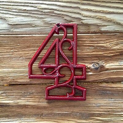Hand Painted CHERRY RED Cast Iron Scroll NUMBER 0-9 Address Street House