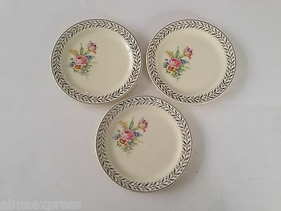 """3 Taylor Smith & Taylor China Platinum Floral TST349 - 6-1/4"""" BREAD PLATE"""