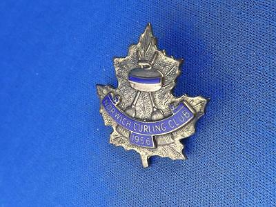 Norwich1956 Curling Club Pin Back Ont Canada Collector Vintage