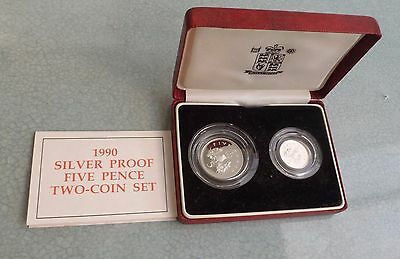 1990 Uk Royal Mint Silver Proof 5 Pence, Two Coin Set