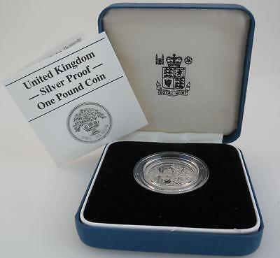 1987 UK Silver Proof One Pound Coin £1 - Royal Mint - Boxed & COA (M18)