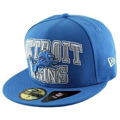 Detroit Lions Logo Stack NFL 59Fifty Fitted Baseball Cap By New Era 7 1/4