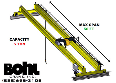 R&m 5 Ton, 50' Span, Top Running, Double Girder Overhead Bridge Crane Kit