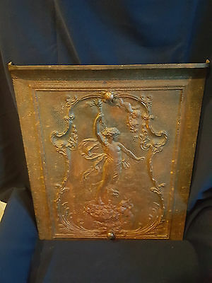 Antique Cast Iron Fireplace Cover Very Ornate Cherubs And Woman