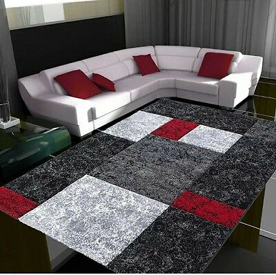 New Large Red Silver Modern Living Room Rugs Grey Hall Runners Small Rug Mats