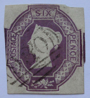 Queen Victoria embossed 6d six pence stamp SG 59 60 or 61 nice used 3 margins