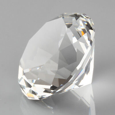 30/40/60/80mm Crystal Clear Paperweight Cut Glass Giant Diamond Jewel Decor Gift