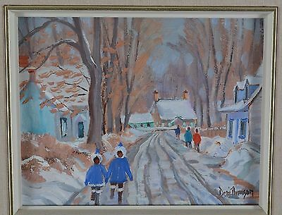 Dori Thomson Oil Painting Snow Winter Village Landscape Canadian Listed Artist