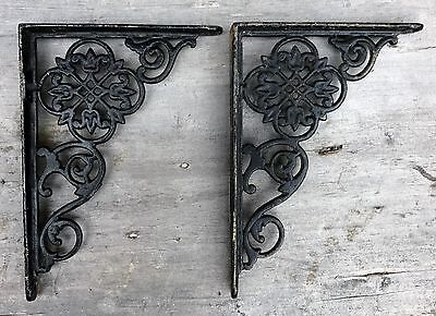 "Antique Victorian Art Deco Black Cast Iron Shelf Brackets 7"" x 5"" USA c. 1920"