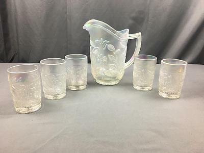 VintG Imperial Glass Iridescent Pearlize White Birds Juice Set