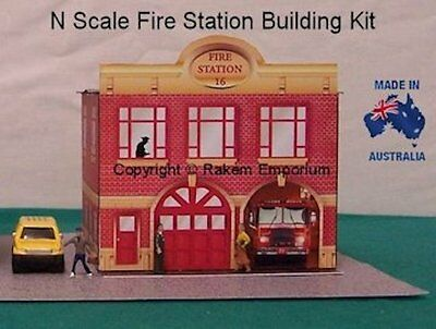 N Scale Fire Station Model Railway Building Kit - NFS1