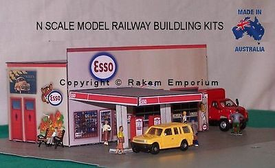 N Scale Esso Garage Petrol Station Model Railway Building Kit - NESG1