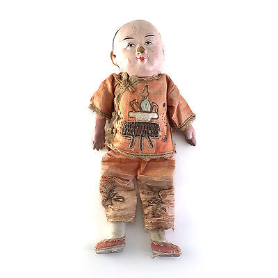 Antique/Vintage Chinese Painted Composite Wood Doll w/ Embroidered Silk Robe
