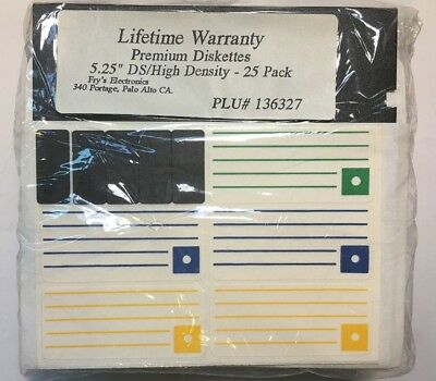 "5.25"" Inch Floppy Disks Dsdd Double Sided/density - 25 Pack New (Old Stock)"