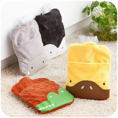 Plush Animal with Pocket Hot Water Bottle Bag Warm Relaxing Heat Cold Therapy