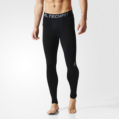 Adidas TechFit Base Mens Black Compression Running Tights Bottoms Pants