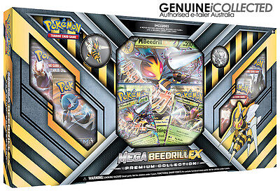 Mega M Beedrill EX Pokemon Card Gift Box | 6 Booster Packs + Holo Shiny Cards ++