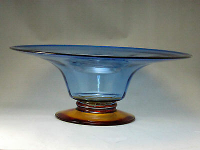 Blenko Art Glass Centerpiece Bowl Footed Blue Gold Amber Large WV Hand Blown